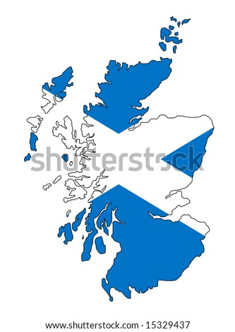 map and flag of scotland - stock photo