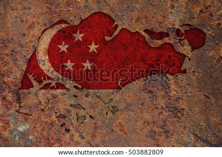 Map and flag of Singapore on rusty metal