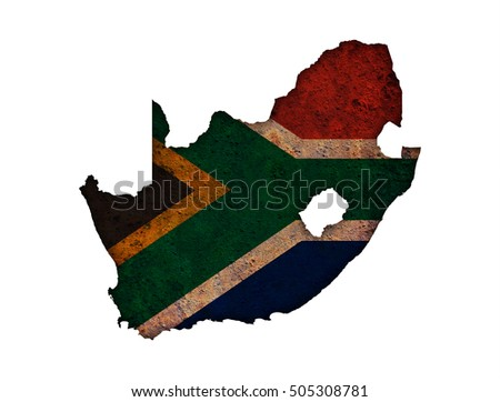 Map and flag of South Africa on rusty metal