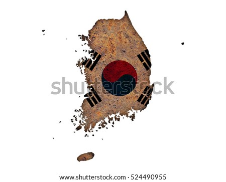 Map and flag of South Korea