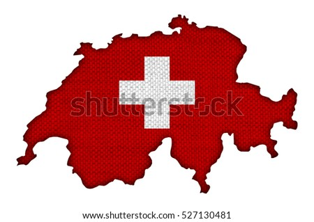 Map and flag of Switzerland on old linen
