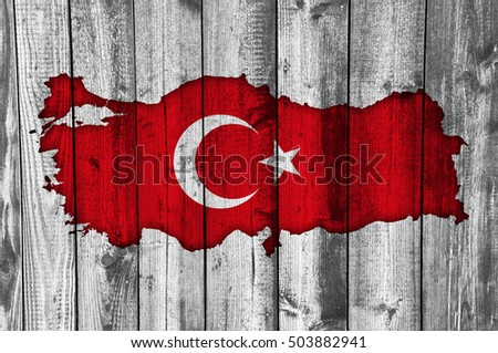 Map and flag of Turkey on weathered wood