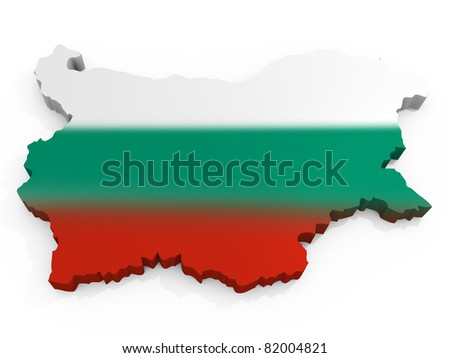 Map and Flag Republic of Bulgaria - stock photo