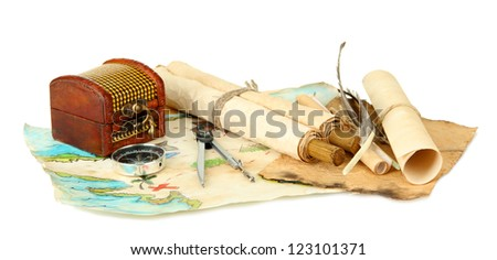 map and treasures, isolated on white - stock photo