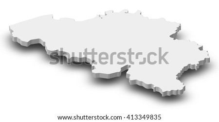 Map - Belgium - 3D Illustration - stock photo