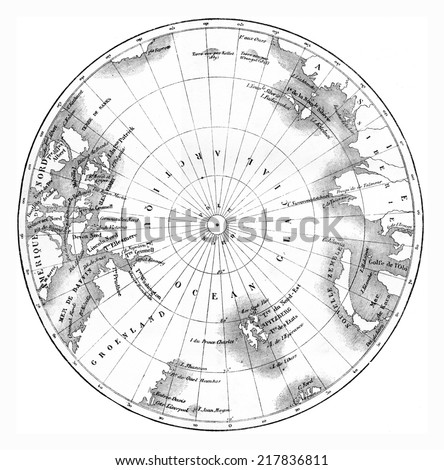 Map circumpolar regions of northern hemisphere. vintage engraved illustration. Le Tour du Monde, Travel Journal, (1865). - stock photo