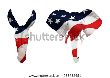Map displacement of American flag on the Democrat donkey and Republican elephant symbol. Isolated on white background. - stock photo