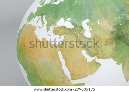 Map drawn with brush strokes with Middle East, Africa, Europe, Mediterranean - stock photo