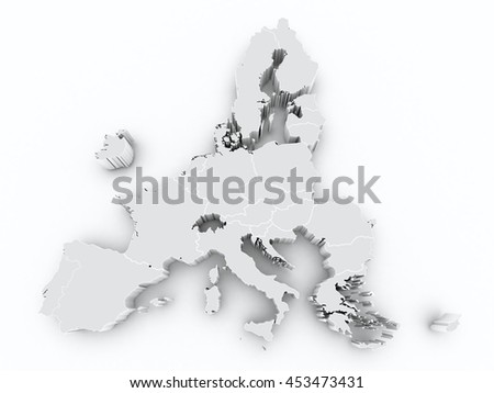 map europe union after brexit with state borders on white isolated - stock photo