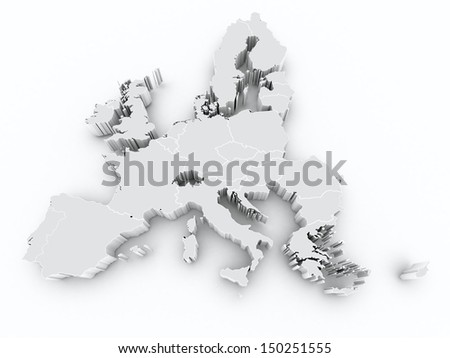 map europe union borders on white isolated - stock photo