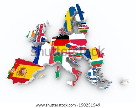 map europe union state flags on white isolated - stock photo