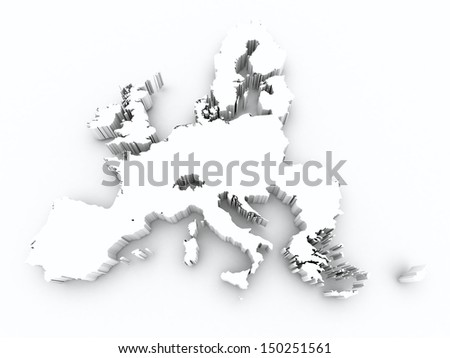 map europe union white on white isolated - stock photo