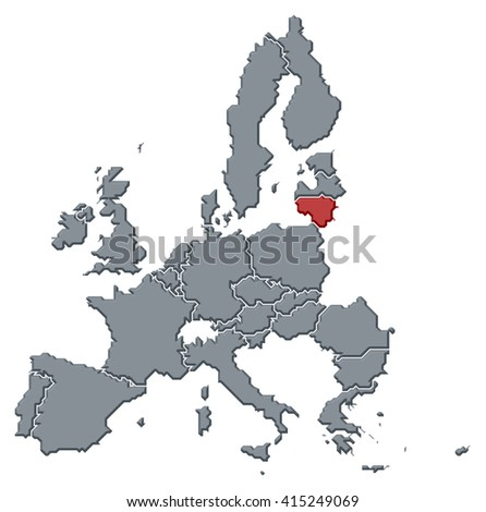 Map - European Union, Lithuania