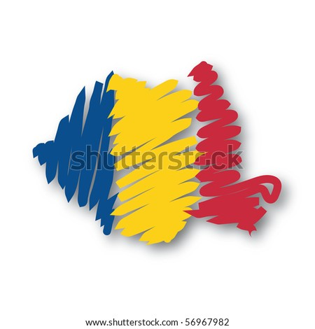 map flag Romania - stock photo