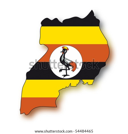 map flag Uganda - stock photo