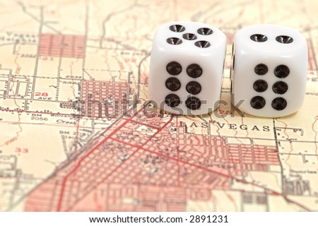 map from Las Vegas and dices - stock photo