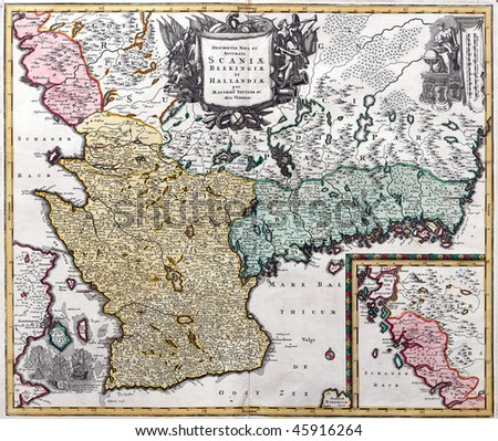 Map from south Sweden from XVIII century. - stock photo