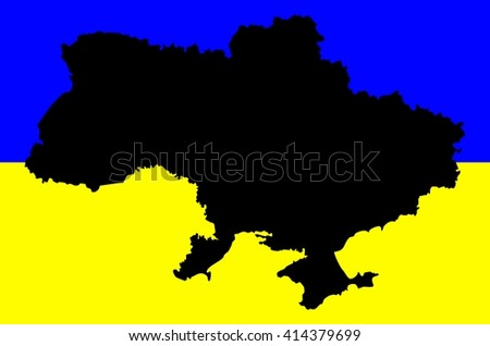 Map geographical territory outline and flag of country Ukraine. Black. - stock photo