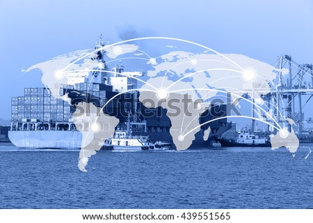 Map global connection concept,Industrial Container Cargo freight ship for Logistic Import Export background background (Elements of this image furnished by NASA) - stock photo
