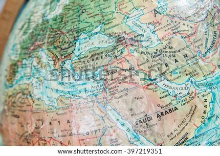 Map Globes, Syria - stock photo