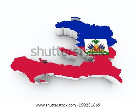 map haiti on white isolated - stock photo