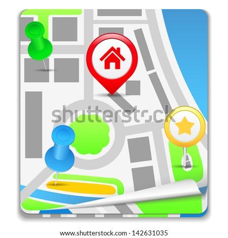 Map Icon - stock photo