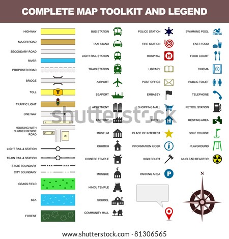 map icon legend symbol sign toolkit element - stock photo