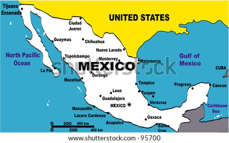 map Illustration of Mexico - stock photo
