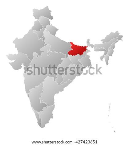Map - India, Bihar - stock photo