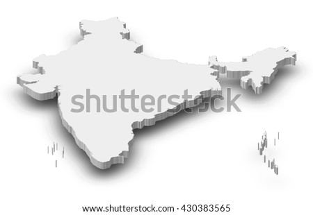 Map - India - 3D-Illustration - stock photo