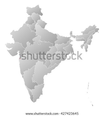 Map - India, Dadra and Nagar Haveli - stock photo