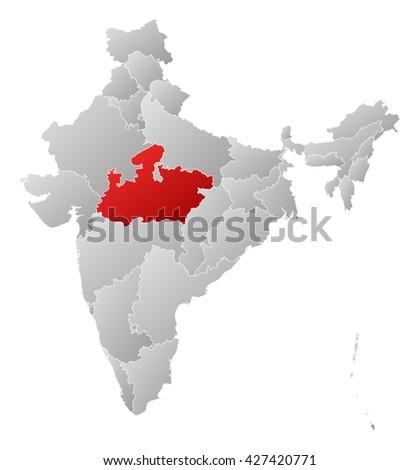 Map - India, Madhya Pradesh - stock photo