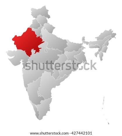Map - India, Rajasthan - stock photo