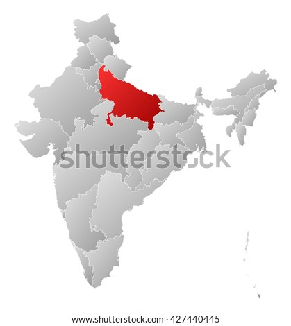 Map - India, Uttar Pradesh - stock photo