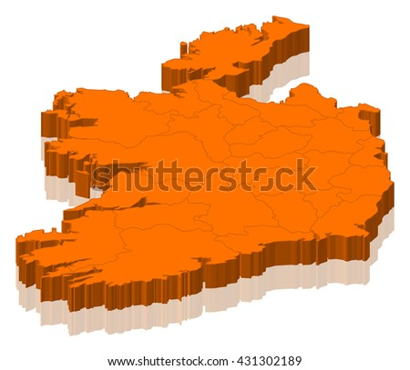 Map - Ireland - 3D-Illustration - stock photo