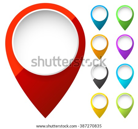 Map marker, map pin shapes, elements in 6 color. Location, destination concepts. - stock photo