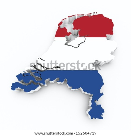 map netherlands with flag on white isolated  - stock photo