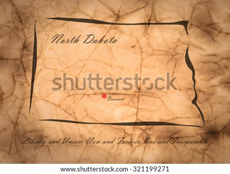 Map North Dakota of America on the old faded paper - stock photo
