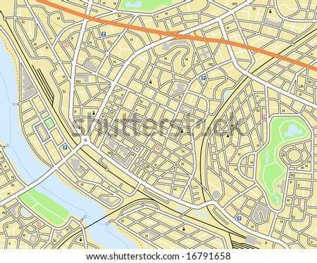 Map of a generic city with no names - stock photo