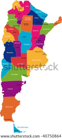 Map of administrative divisions of Argentina - stock photo