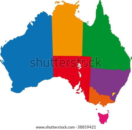 Map of administrative divisions of Australia - stock photo