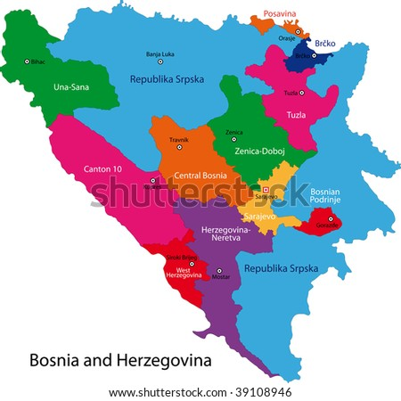 Map of administrative divisions of Bosnia and Herzegovina - stock photo