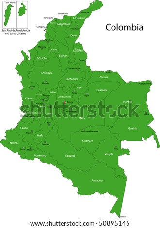 Map of administrative divisions of Colombia - stock photo