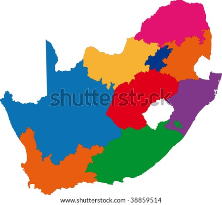 Map of administrative divisions of South Africa - stock photo