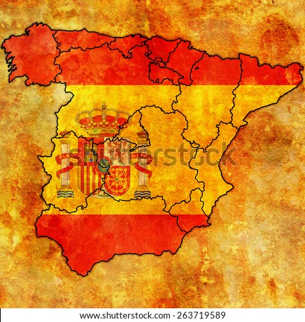 map of administrative divisions of spain with national flag - stock photo