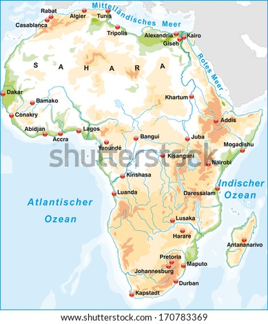 Map of Africa as an overview map with hight layers
