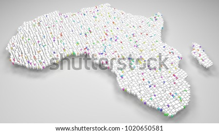 Map of Africa | 3d Rendering, mosaic of little bricks - White and Harlequin colors