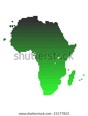 Map of Africa in broad lines with green gradient