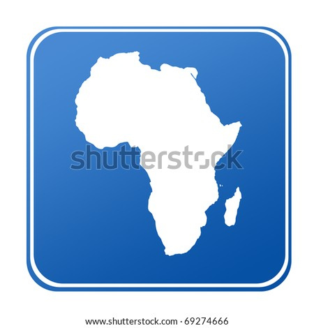 Map of Africa on blue button; isolated on white background. - stock photo