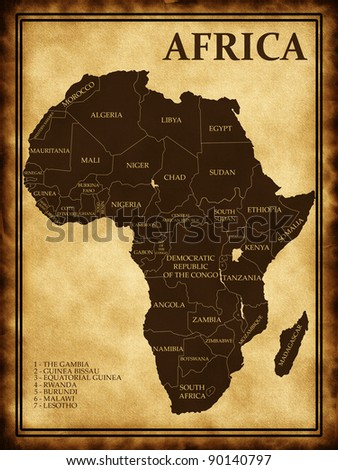 Map of Africa on the old background - stock photo